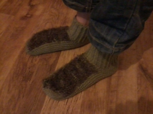 Hobbit Feet sock/slippers requested by my younger brother . . .